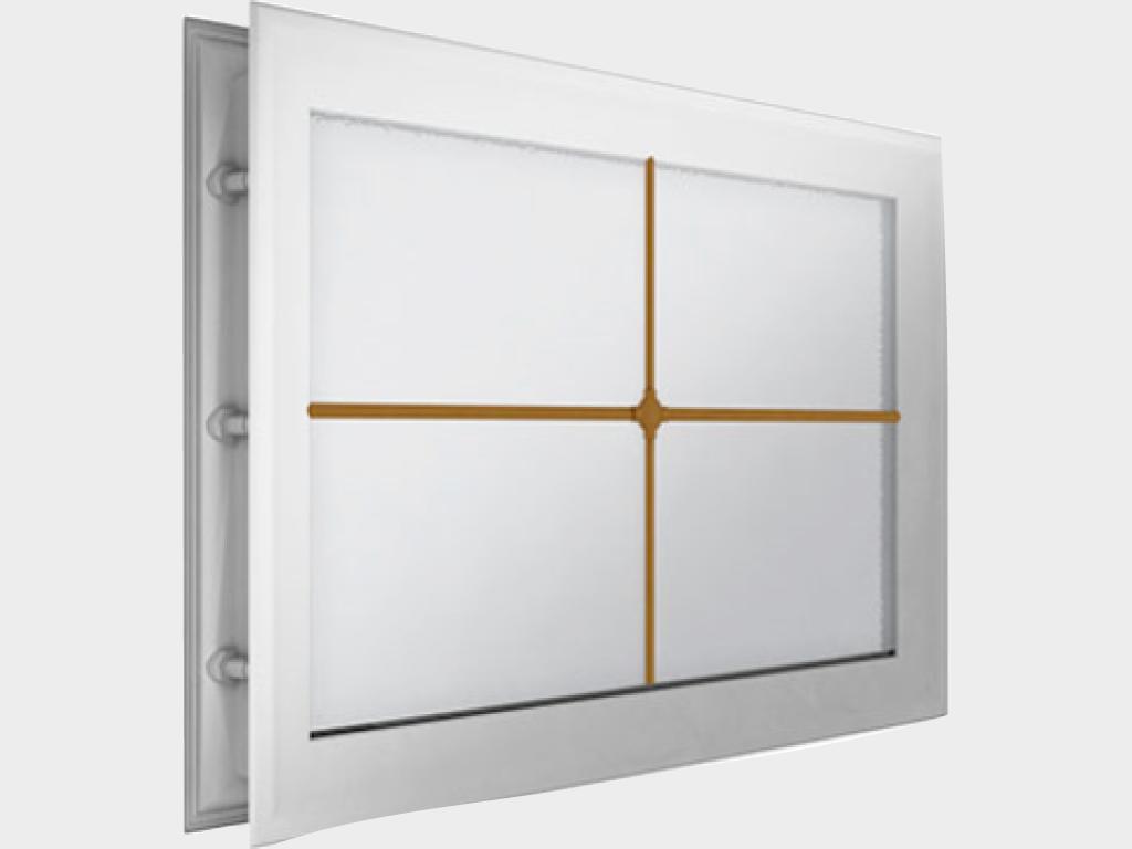 <p>Окно акриловое 452 × 302, белое с раскладкой «крест» (арт. DH85627). Специальная конструкция обеспечивает плотное прилегание к полотну ворот, что защищает его от промерзания и теплопотери. Стилистическая вставка в форме креста. Окантовка белого цвета.</p>