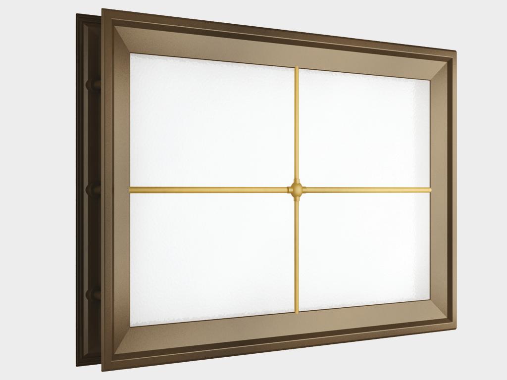 <p>Окно акриловое 452 × 302, коричневое с раскладкой «крест» (арт. DH85628). Специальная конструкция обеспечивает плотное прилегание к полотну ворот, что защищает его от промерзания и теплопотери. Стилистическая вставка в форме креста. Окантовка коричневого цвета.</p>