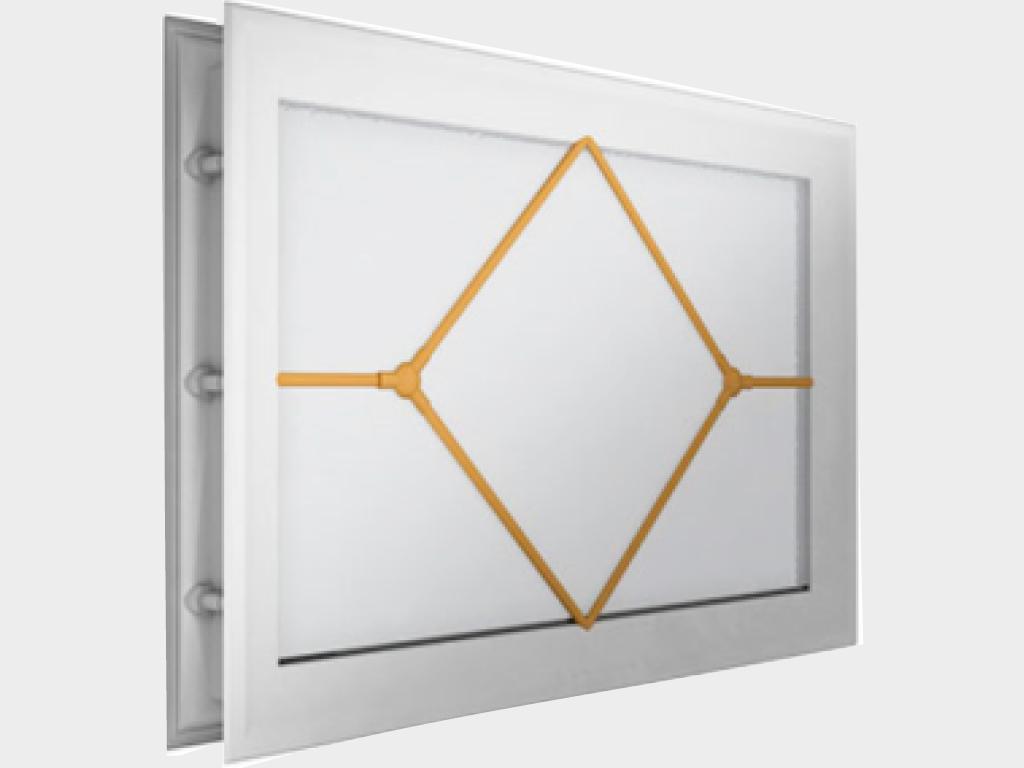 <p>Окно акриловое 452 × 302, белое с раскладкой «ромб» (арт. DH85629). Специальная конструкция обеспечивает плотное прилегание к полотну ворот, что защищает его от промерзания и теплопотери. Стилистическая вставка в форме ромба. Окантовка белого цвета.</p>