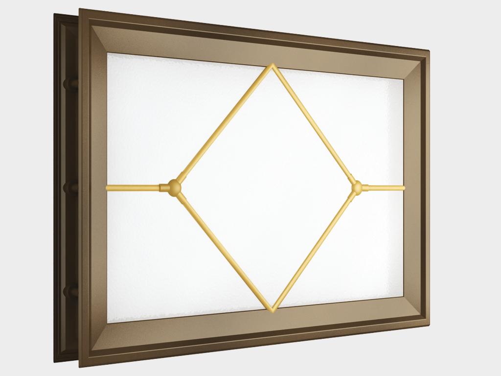 <p>Окно акриловое 452 × 302, коричневое с раскладкой «ромб» (арт. DH85629). Специальная конструкция обеспечивает плотное прилегание к полотну ворот, что защищает его от промерзания и теплопотери. Стилистическая вставка в форме ромба. Окантовка коричневого цвета.</p>