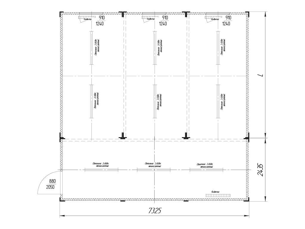 <p>Комбинированное с контейнером 7 325 х 2 435 мм. Вместо L может быть подставлен любой стандартный контейнер.</p>