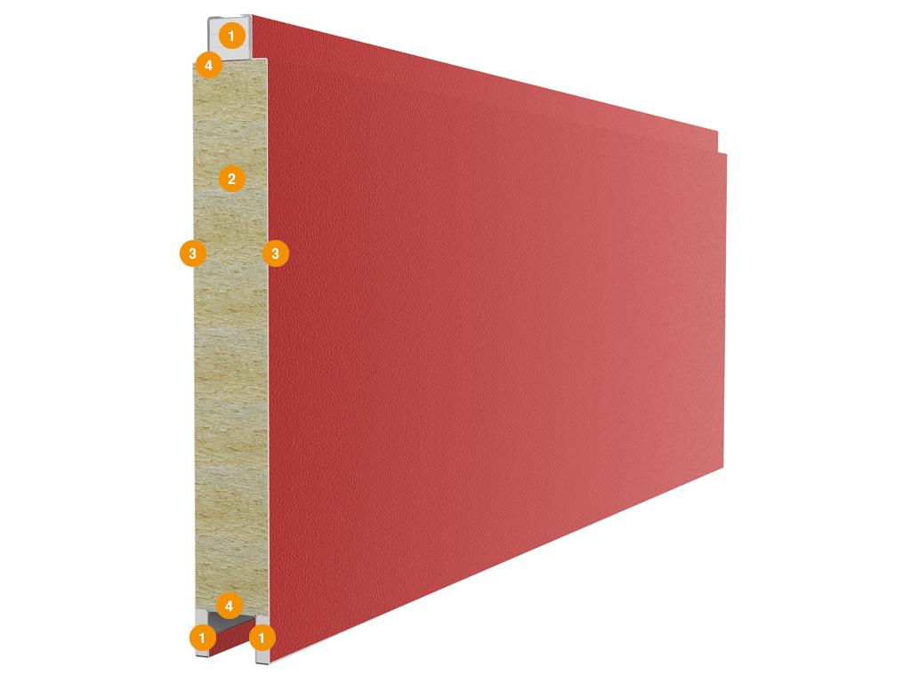 <p>Панели противопожарных распашных ворот состоят из двух стальных листов и минераловатной прослойки между ними, с боковой стороны закладывается гипсокартон с усиливающими профилями. Панели обладают повышенными жароустойчивыми и огнеупорными свойствами. Также панели устойчивы к широкому спектру химикатов, масел и растворителей, а полимерные покрытия внешних поверхностей делают их невосприимчивыми к коррозионному воздействию окружающей среды. Конструкция панели: 1) гипсокартон; 2) минераловатная прослойка плотностью 130 кг/м³; 3) стальной лист толщиной 0,5 мм; 4) усиливающие профили.</p>