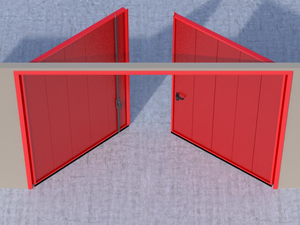 <p>Открывание створок наружу помещения — левая створка пассивная, правая активная.</p>