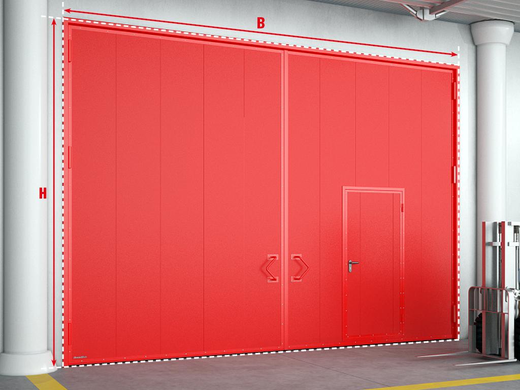 <p>Противопожарные распашные ворота с калиткой.</p>