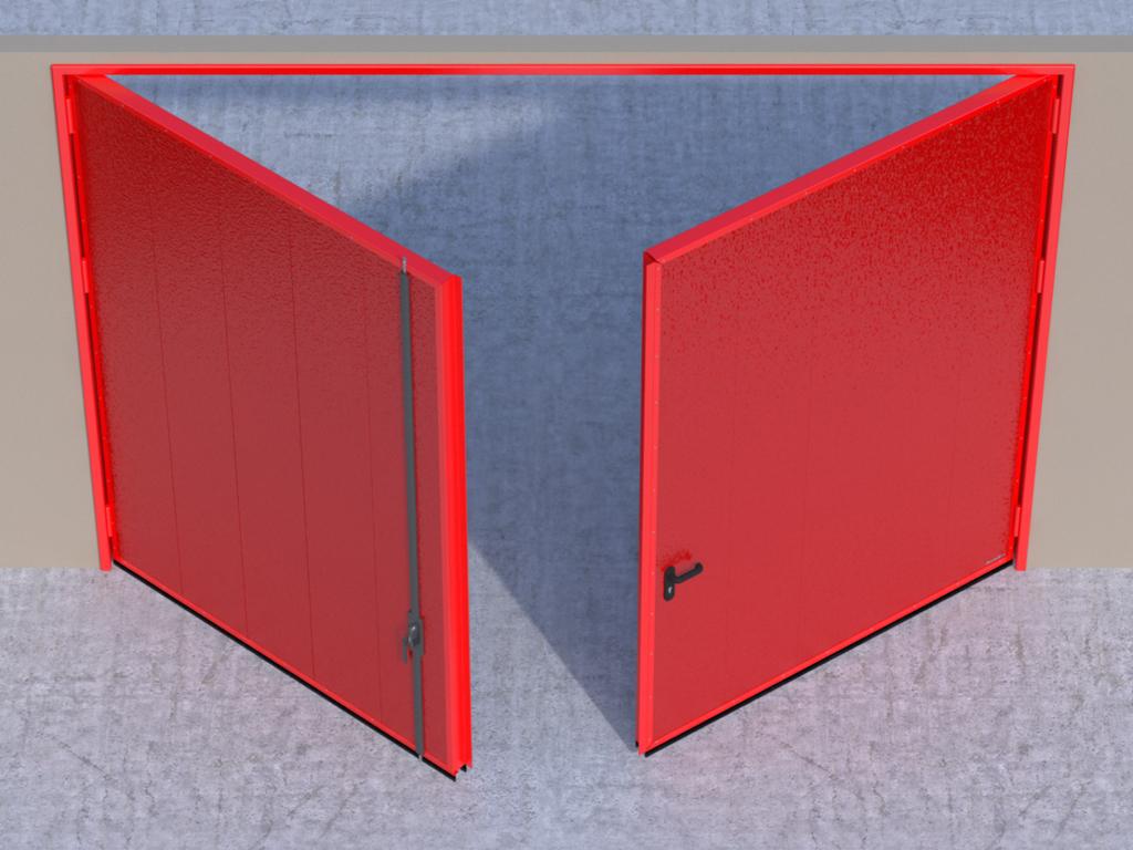 <p>Открывание створок внутрь помещения — левая створка пассивная, правая активная.</p>