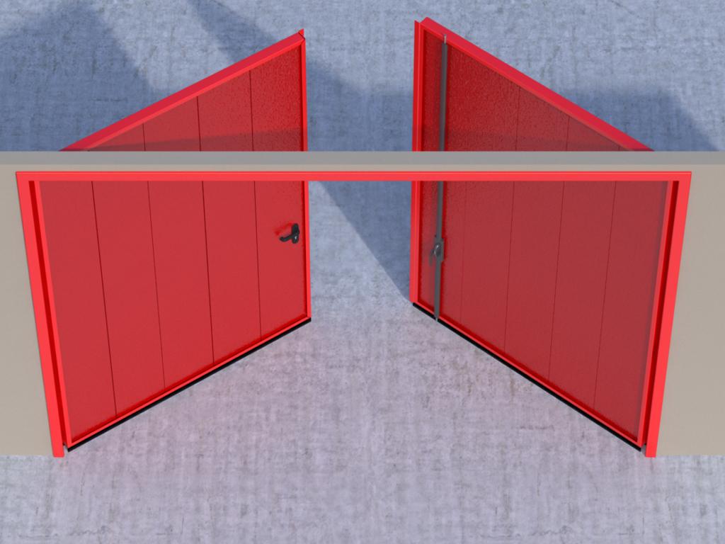 <p>Открывание створок наружу помещения — левая створка активная, правая пассивная.</p>