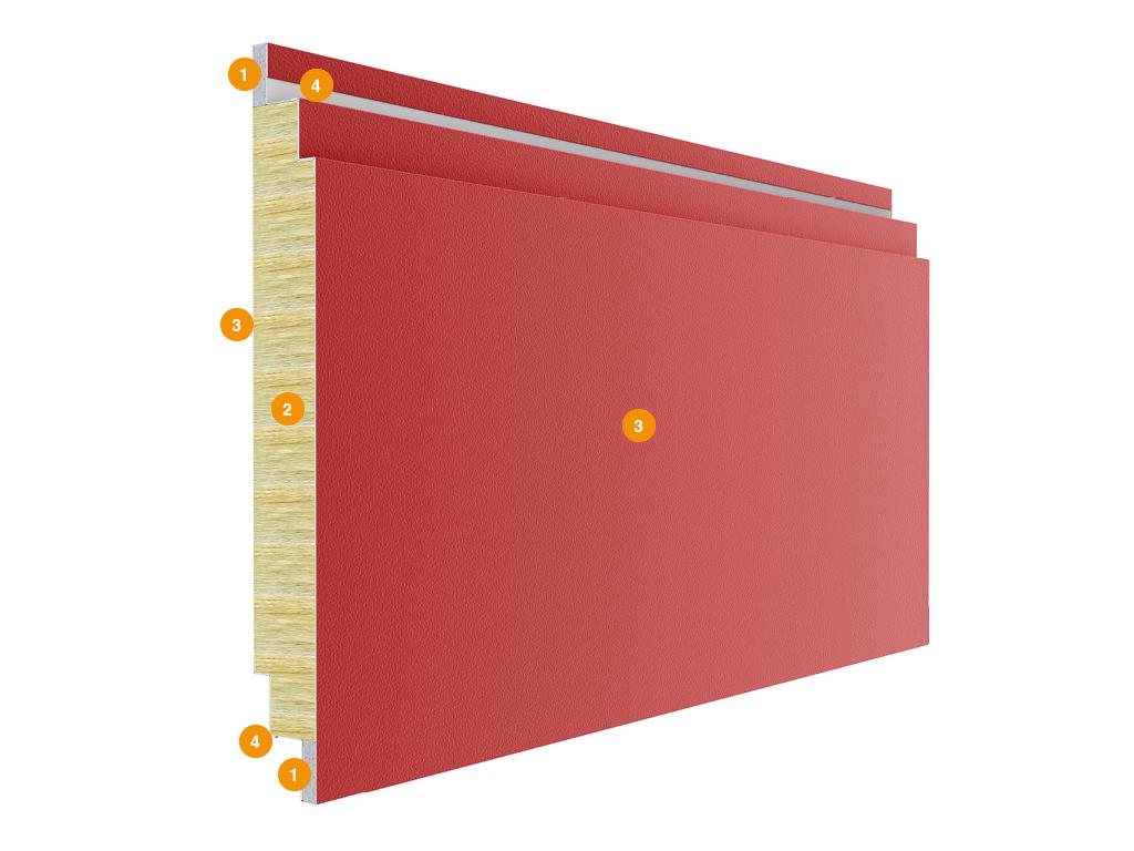 <p>Панели противопожарных секционных ворот состоят из двух стальных листов и минераловатной прослойки между ними, с боковой стороны закладывается гипсокартон с усиливающим профилем. Панели обладают повышенными жароустойчивыми и огнеупорными свойствами. Также панели устойчивы к широкому спектру химикатов, масел и растворителей, а полимерные покрытия внешних поверхностей делают их невосприимчивыми к коррозионному воздействию окружающей среды. Конструкция панели: 1) гипсокартон; 2) минераловатная прослойка плотностью 130 кг/м3; 3) стальной лист толщиной 0,5 мм; 4) усиливающий профиль под петли (предотвращает разбалтывание петель и повышает взломоустойчивость).</p>