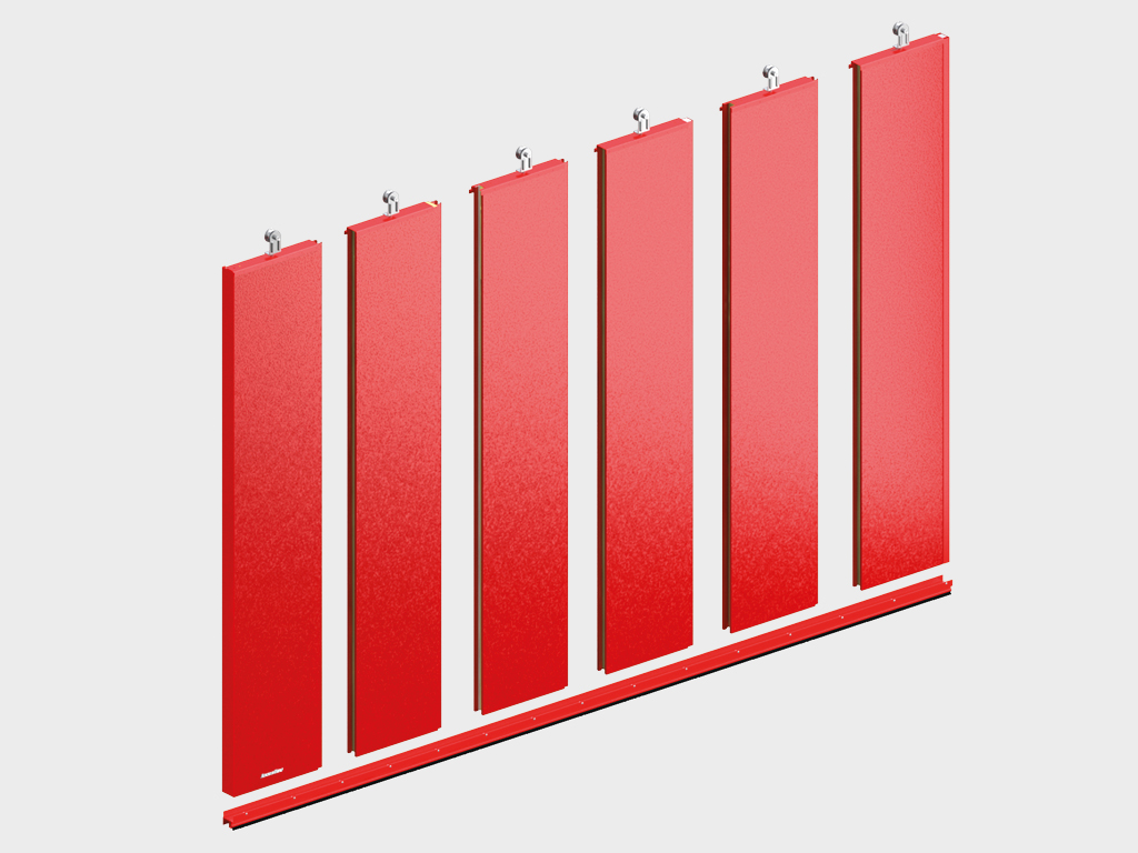 <p>Полотно ворот толщиной 80 мм из стальных сэндвич-панелей с минеральной ватой высокой плотности</p>